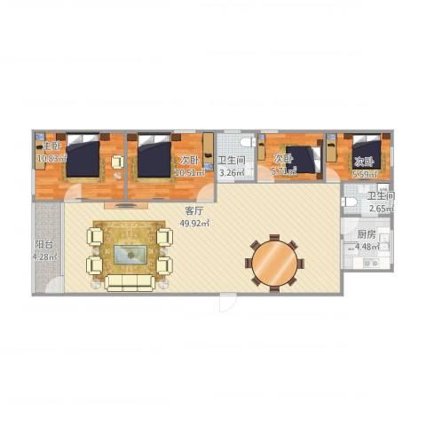 金湖花园4室1厅2卫1厨130.00㎡户型图