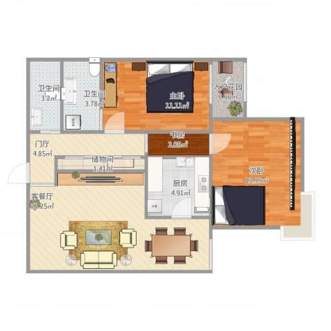 北洼路29号3室1厅3卫1厨95.00㎡户型图