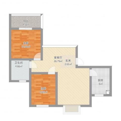 铁静苑2室1厅1卫1厨91.00㎡户型图