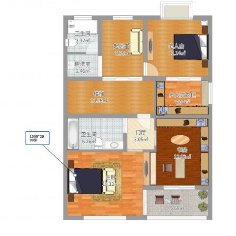 幸福佳苑D1406-12室1厅4卫1厨129.00㎡户型图