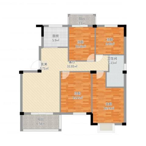 日出东辉4室1厅1卫1厨146.00㎡户型图