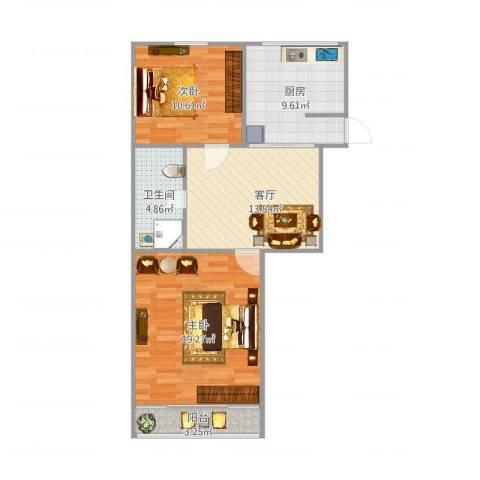 六里二村2室1厅1卫1厨82.00㎡户型图