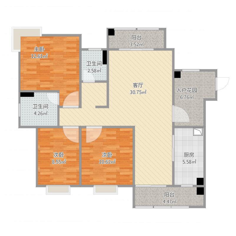水木清华116三室两厅户型