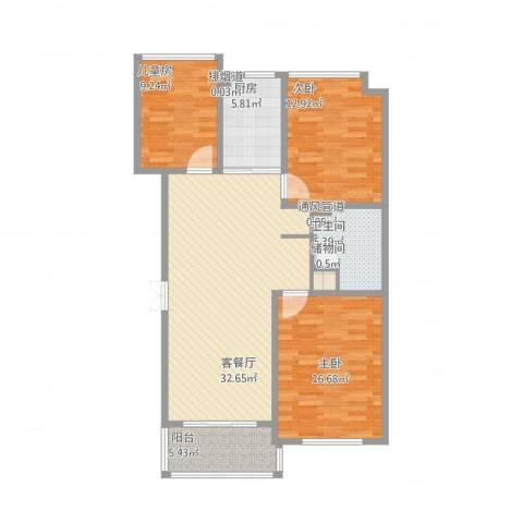 淞南十村3室1厅2卫2厨124.00㎡户型图