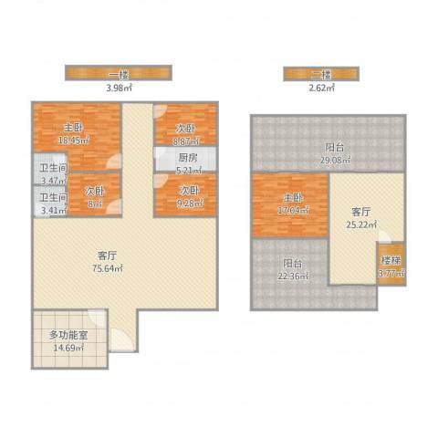 育才竹岛5室2厅2卫1厨334.00㎡户型图