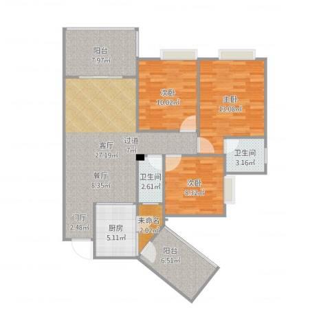 龙腾盛世3室1厅2卫1厨117.00㎡户型图