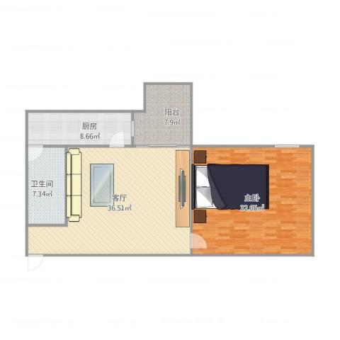 明珠广场19栋6071室1厅1卫1厨123.00㎡户型图