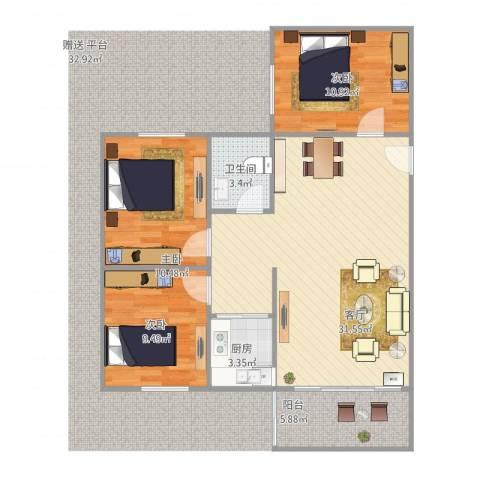 富林居2F3室1厅1卫1厨101.00㎡户型图