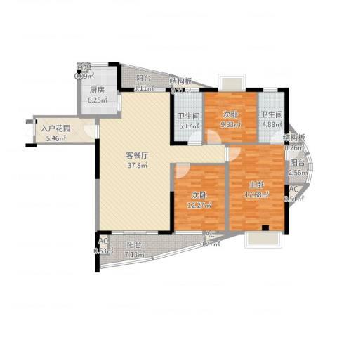 九溪江南3室1厅2卫1厨165.00㎡户型图
