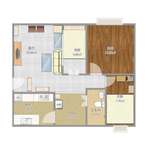 鸣翠苑3室1厅1卫1厨84.00㎡户型图