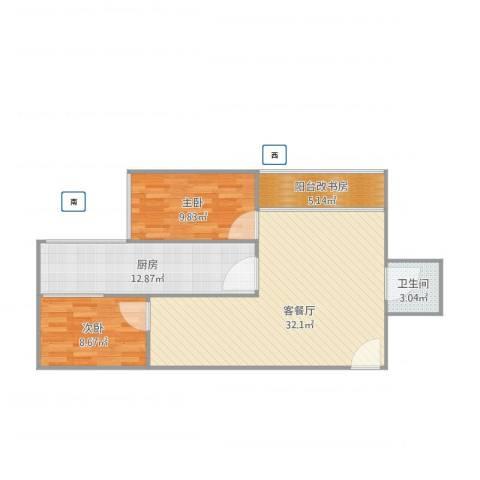 西八里庄北里2室1厅1卫1厨96.00㎡户型图