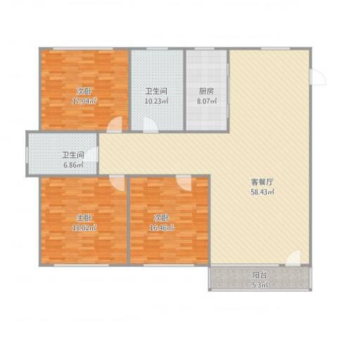 邻海园3室1厅2卫1厨186.00㎡户型图