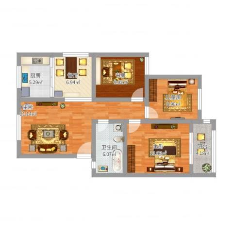 南京路小区4室1厅1卫1厨113.00㎡户型图