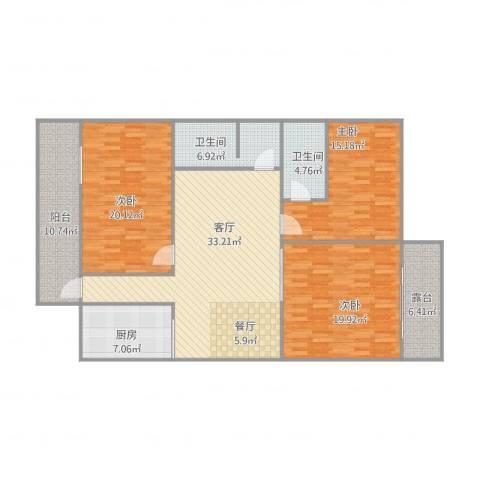 和景花园盛景14-013室1厅2卫1厨167.00㎡户型图