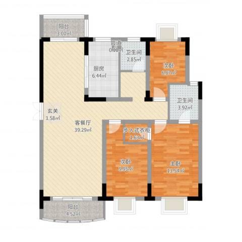 乡村花园南艳湾3室1厅2卫1厨133.00㎡户型图