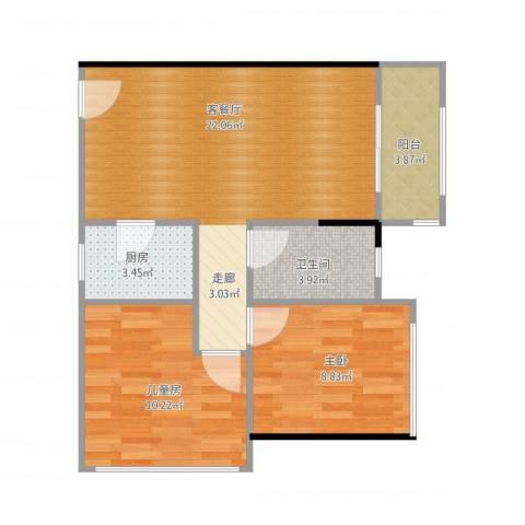 3号线城市公寓2室1厅1卫1厨71.00㎡户型图