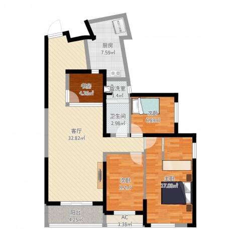 融科九重锦4室2厅1卫1厨129.00㎡户型图