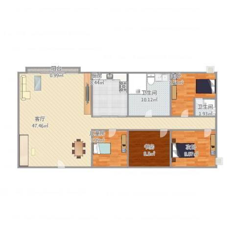 宝翠花园4室1厅2卫1厨138.00㎡户型图
