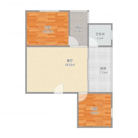 江滨大厦2室1厅1卫1厨56.10㎡户型图