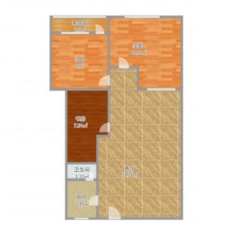 桃花园3室1厅1卫1厨72.60㎡户型图