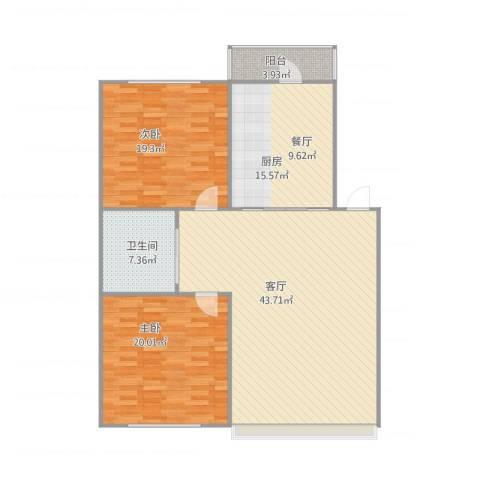 昊翔家园2室1厅1卫1厨116.00㎡户型图