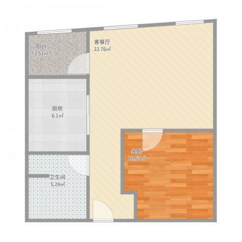 丽都家园1室1厅1卫1厨66.00㎡户型图