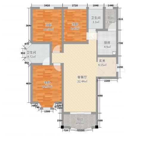 天子庄园3室1厅2卫1厨124.00㎡户型图