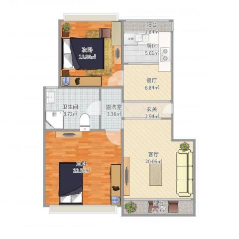 爱家亚洲花园2室3厅1卫1厨124.00㎡户型图