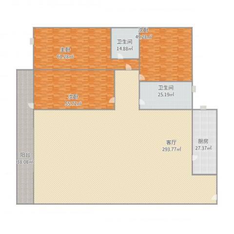 锦城花园3室1厅2卫1厨728.00㎡户型图