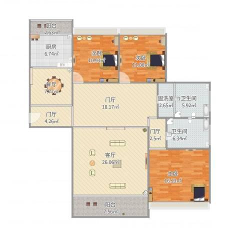 爱家亚洲花园3室3厅2卫1厨174.00㎡户型图