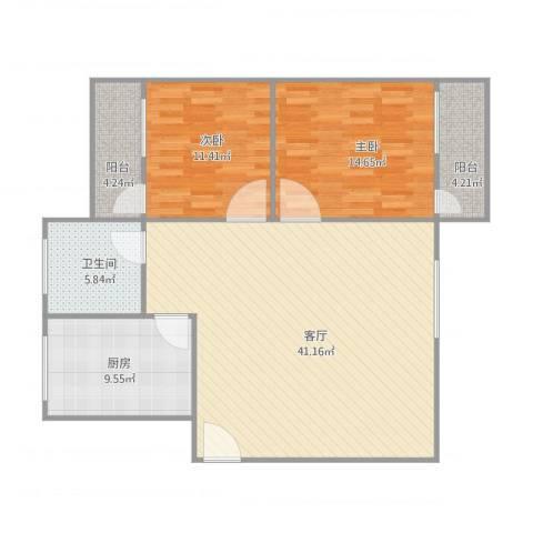 华侨花园2室1厅1卫1厨121.00㎡户型图