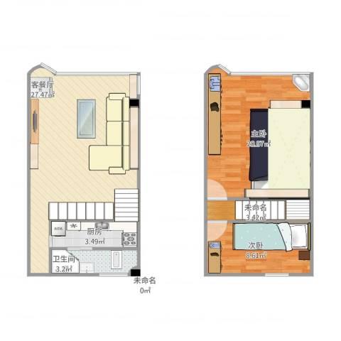 泽德花园2室1厅1卫1厨91.00㎡户型图