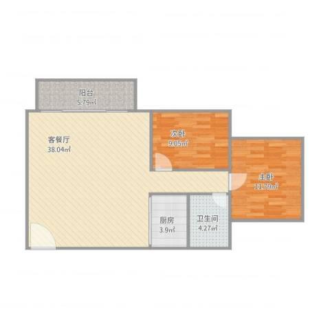 基业花园2室1厅1卫1厨98.00㎡户型图