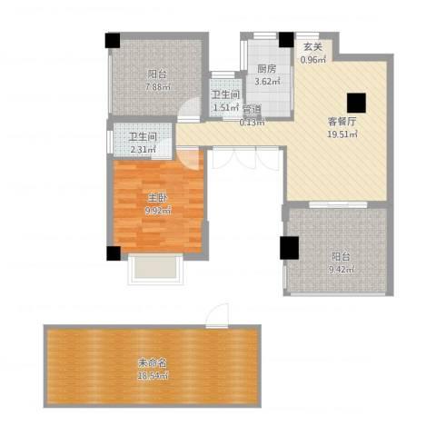 乐活小镇1室1厅2卫1厨104.00㎡户型图