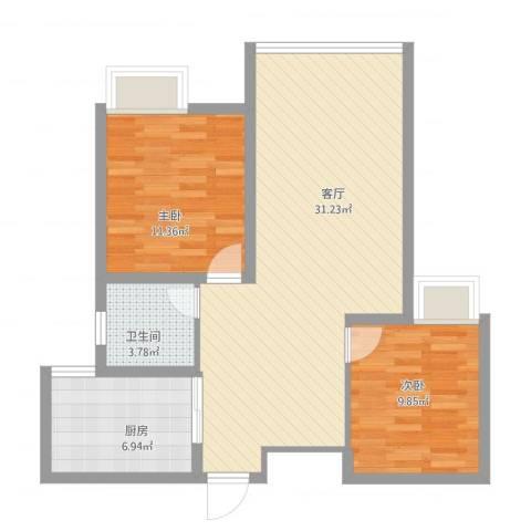 东海滨江城四期5-6-72室1厅1卫1厨89.00㎡户型图