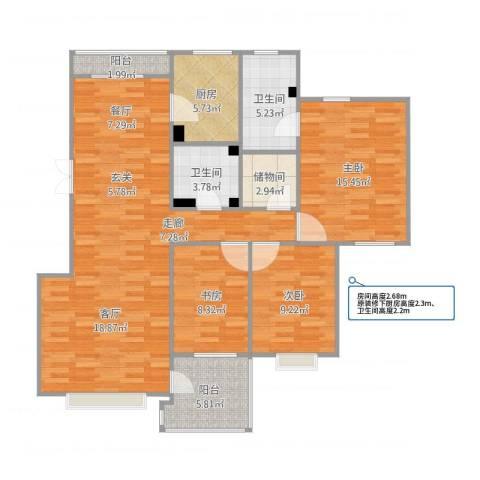 优豪斯3室1厅2卫1厨133.00㎡户型图
