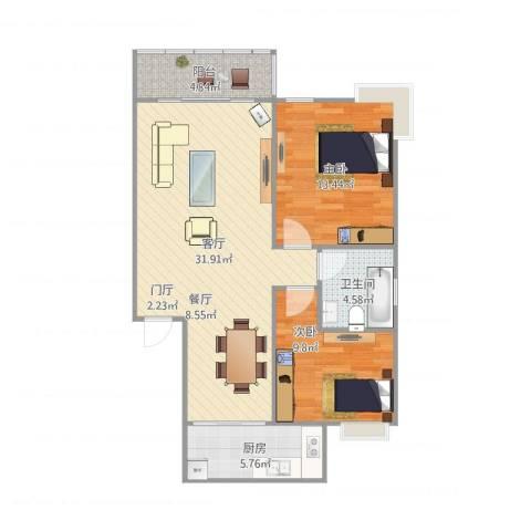 百舸罄苑2室1厅1卫1厨95.00㎡户型图