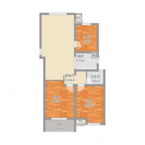 当代国际广场3室1厅1卫1厨119.00㎡户型图