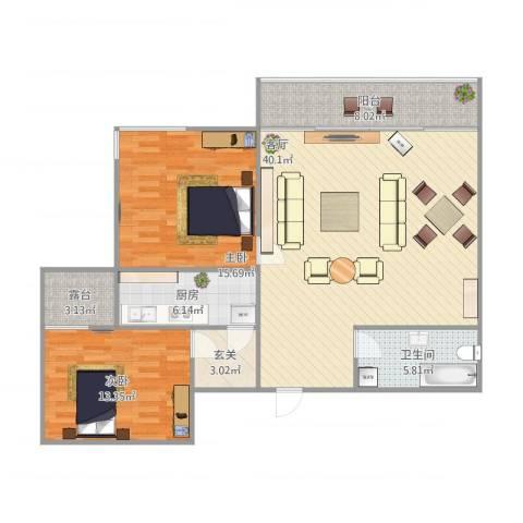 尚东雅园2室1厅1卫1厨127.00㎡户型图