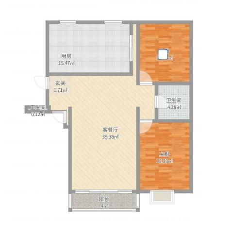 首府洋房2室1厅2卫1厨118.00㎡户型图