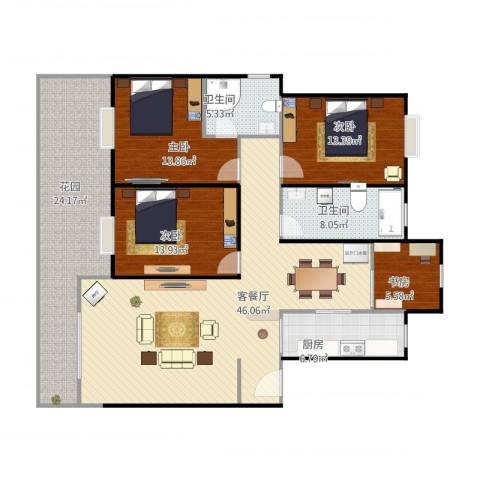 红梅小区4室1厅3卫1厨184.00㎡户型图