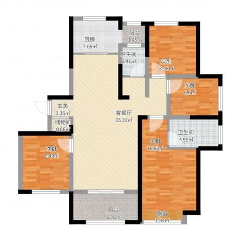 浮来春公馆4室1厅2卫1厨142.00㎡户型图
