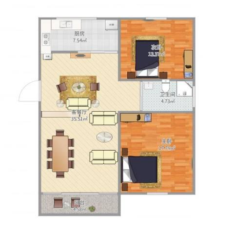 金地湾流域2室1厅1卫1厨111.00㎡户型图