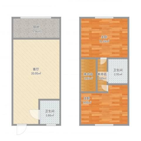 爱尚泾渭X22室1厅2卫1厨80.00㎡户型图