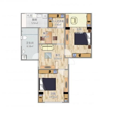 玫瑰园东村体校2室2厅1卫1厨91.00㎡户型图