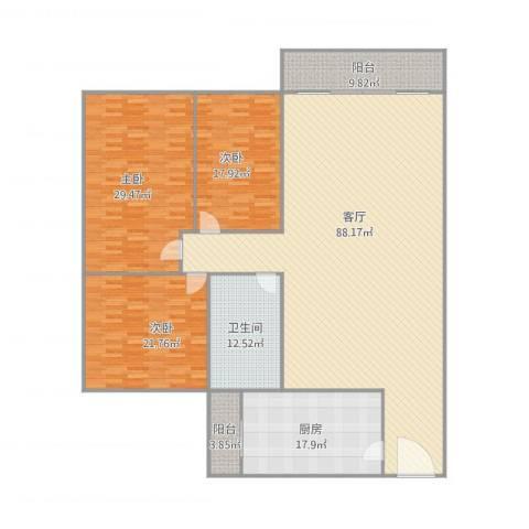 日高卡卡3室1厅1卫1厨264.00㎡户型图