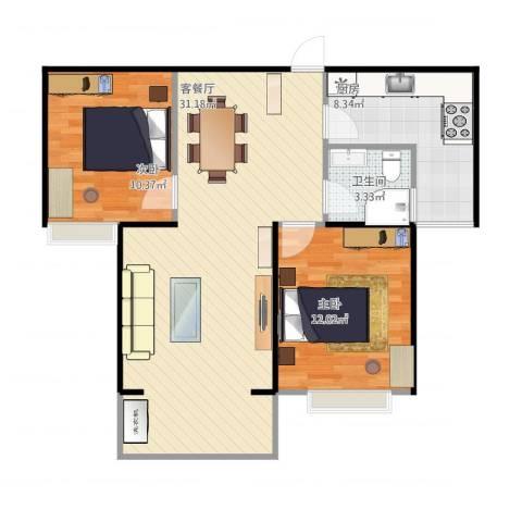 丰泽园2室1厅1卫1厨87.00㎡户型图