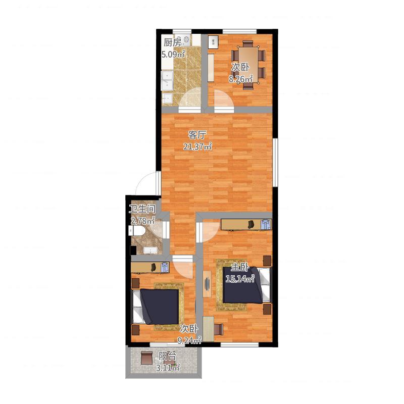 93长三室一厅