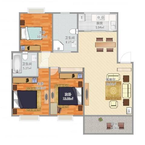 大众春盛苑3室1厅2卫1厨112.00㎡户型图