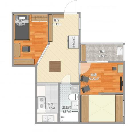 沁春园一村2室1厅1卫1厨58.00㎡户型图